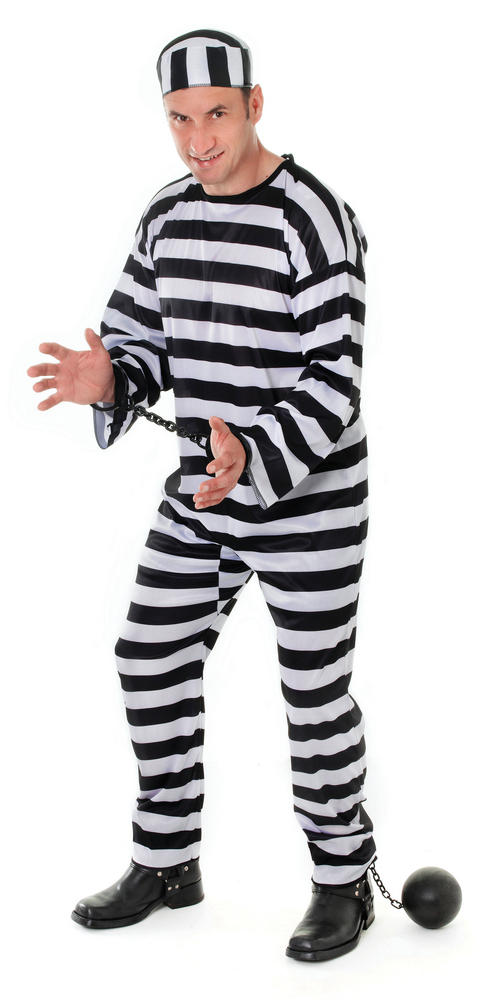 Men's Convict Fancy Dress Costume