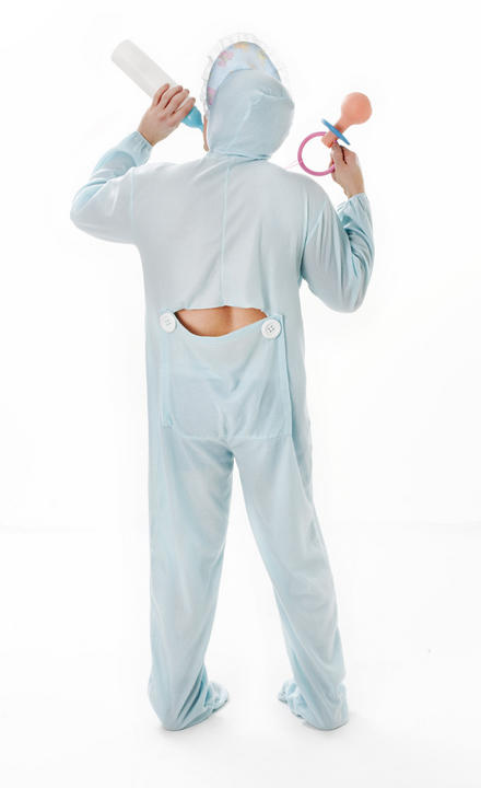 Adult Baby Sleepsuit Blue Fancy Dress Costume Thumbnail 2