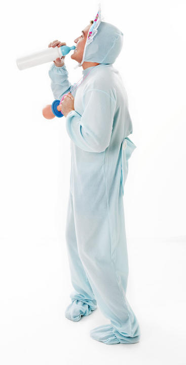 Adult Baby Sleepsuit Blue Fancy Dress Costume Thumbnail 3
