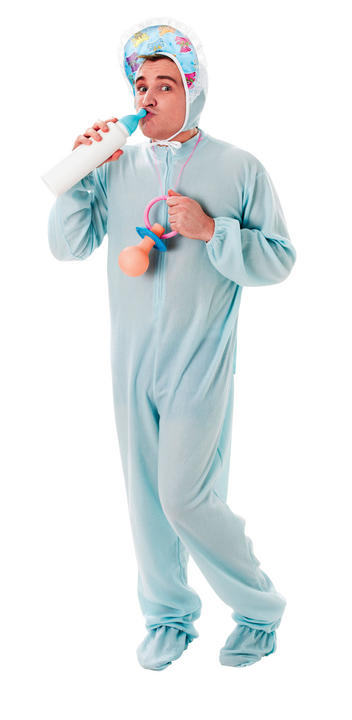 Adult Baby Sleepsuit Blue Fancy Dress Costume Thumbnail 4