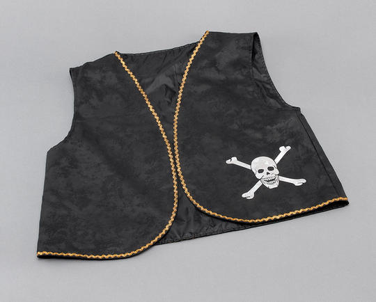 Pirate Waistcoat. Black Distressed Thumbnail 1