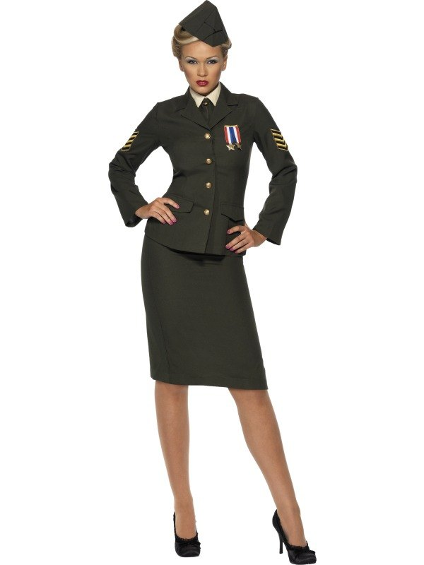 Adult Sexy 1940s Wartime Army Officer Uniform Ladies Fancy Dress Costume Outfit