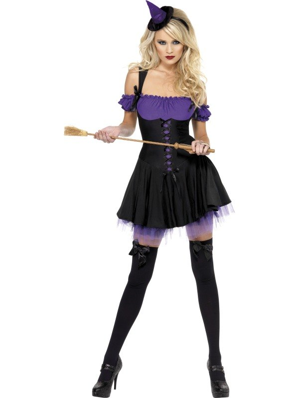 Halloween Party Sexy Fever Wicked Witch Ladies Fancy Dress Costume Outfit