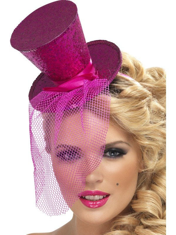 Hot Pink Mini Top Hat On Headband Ladies Fancy Dress Hen Party Costume Accessory