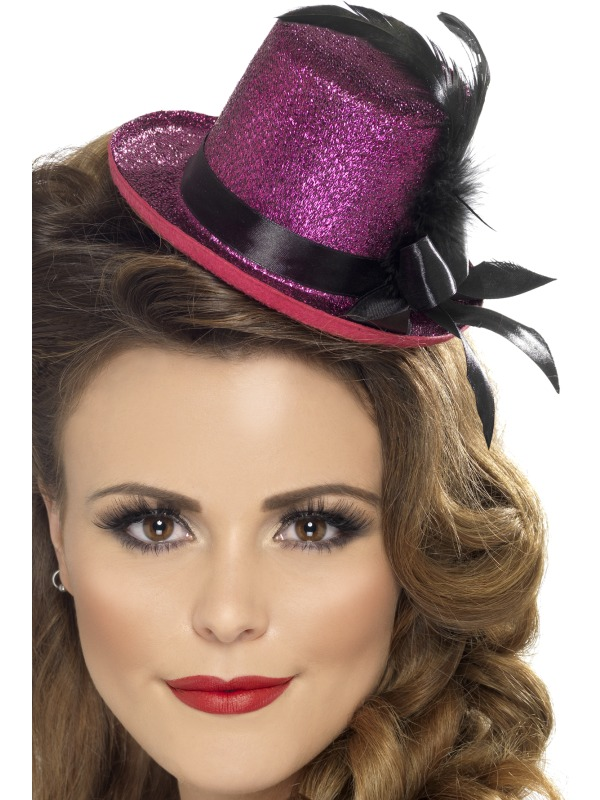 Mini Tophat, Hot Pink with Black Ribbon and Feather