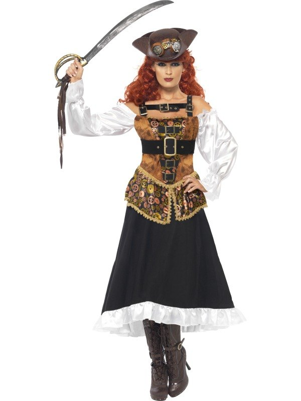 Adult Steam Punk Pirate Wench Ladies Halloween Fancy Dress Costume Party Outfit