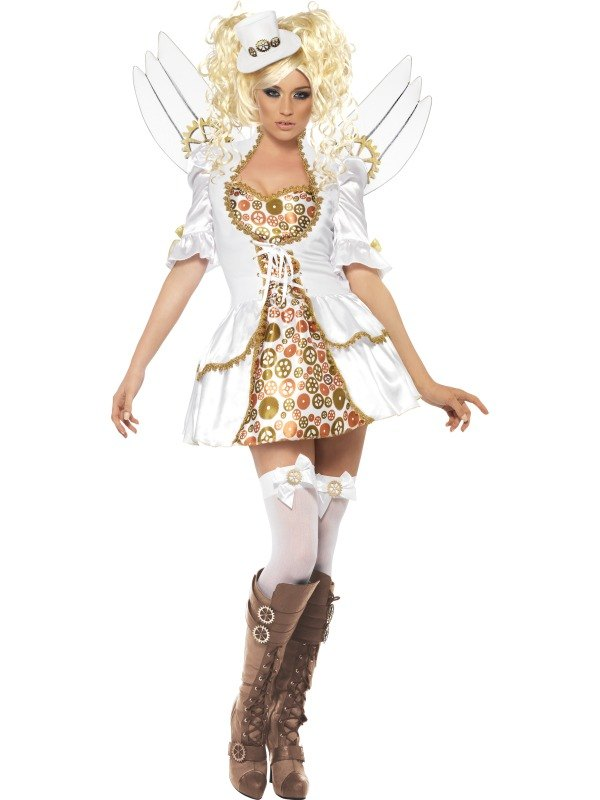 NEW Steam Punk Victorian Clockwork Angel Ladies Fancy Dress Costume Party Outfit