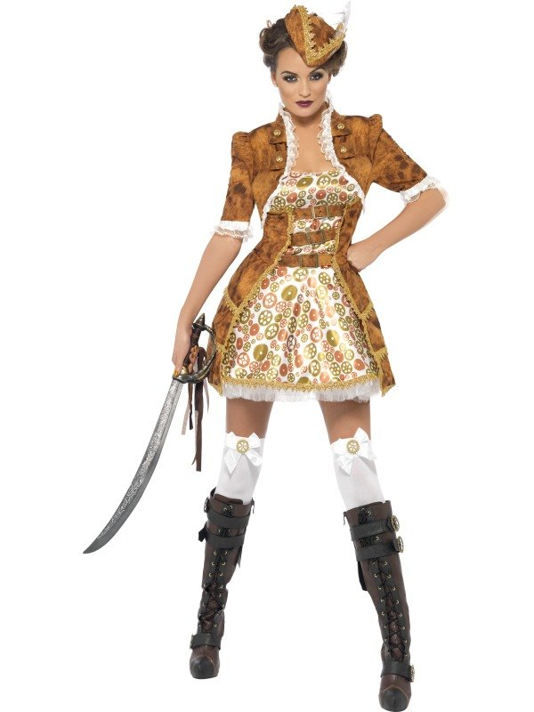 New! Adult Fever Steam Punk Sexy Ladies Pirate Womens Fancy Dress Costume Outfit