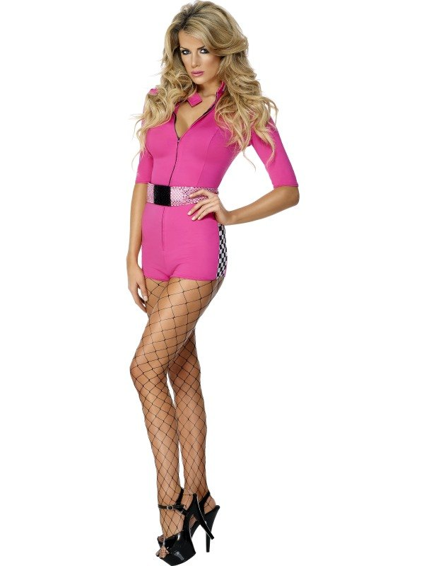 Racing Woman Fancy Dress Costume Pink