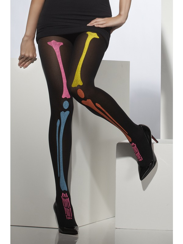 Adult Neon Skeleton Bones Tights Ladies Halloween Fancy Dress Costume Accessory