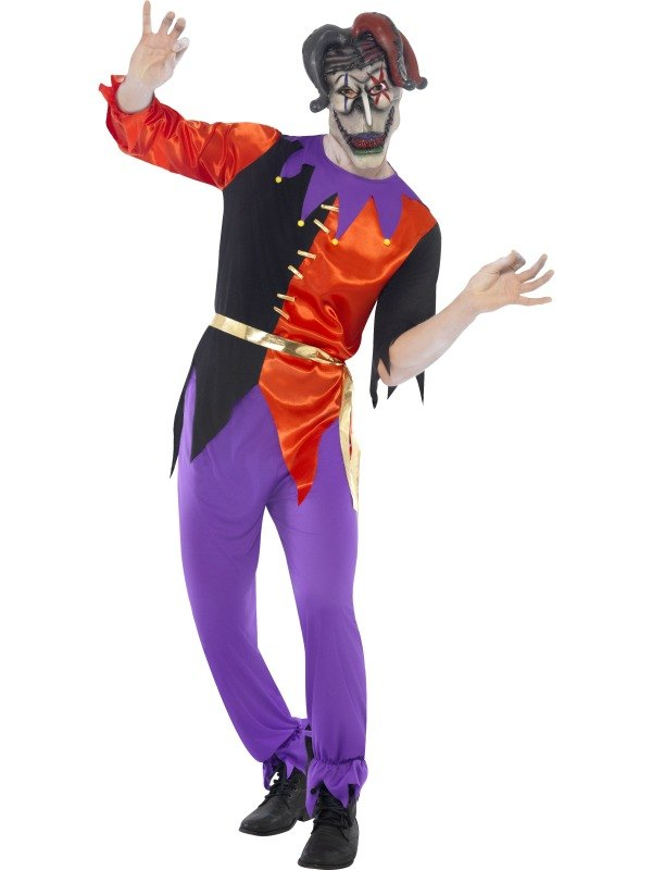 NEW Adult Medieval Court Twisted Jester Mens Halloween Party Fancy Dress Costume
