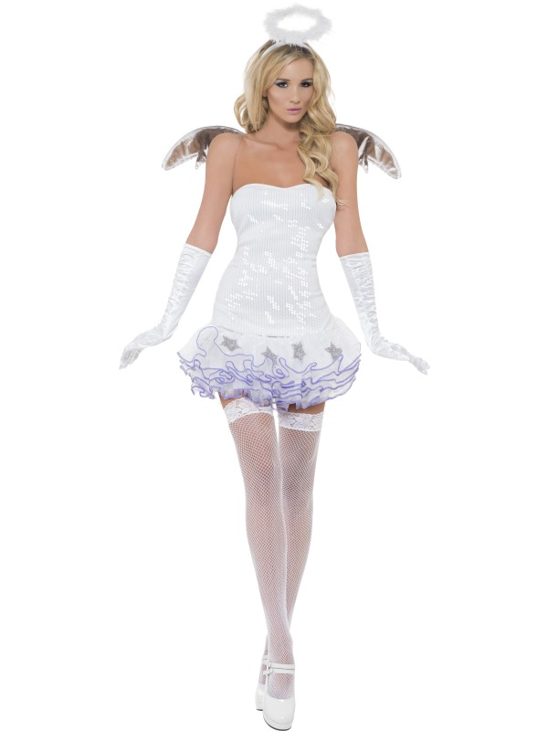 WOW! BELIEVE IN ANGLES Sexy Fever Sequin Angel Ladies Fancy Dress Costume Outfit