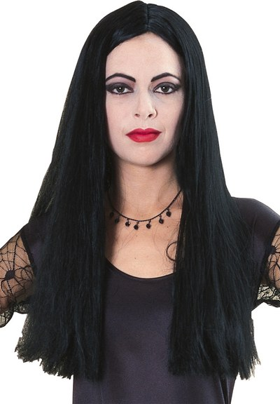 Adults Morticia Wig Long Black Ladies Halloween Fancy Dress Costume Accessory