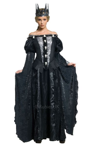 Adult Evil Queen Ravenna Skull Dress Ladies Halloween Party Fancy Dress Costume