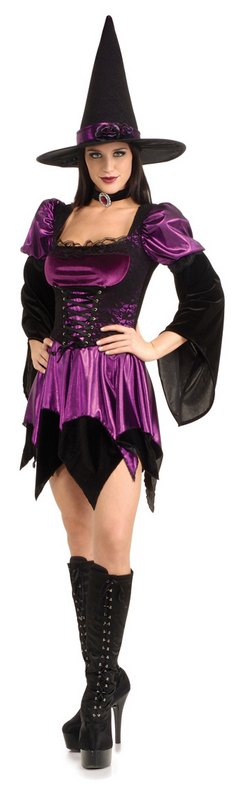 Adult Sexy Spooky Purple Witch Ladies Halloween Party Fancy Dress Costume Outfit