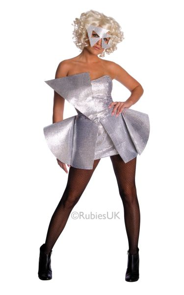 Adult Sexy Licensed Lady Gaga Silver Sequin Dress Ladies Fancy Dress Costume