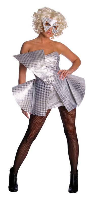 Adult-Sexy-Licensed-Lady-Gaga-Silver-Sequin-Dress-Ladies-Fancy-Dress-Costume