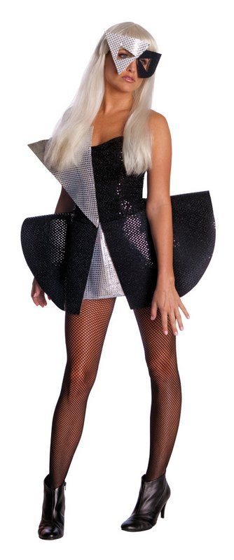 Adult-Sexy-Lady-Gaga-Black-Sequin-Dress-Ladies-Fancy-Dress-Costume-Party-Outfit