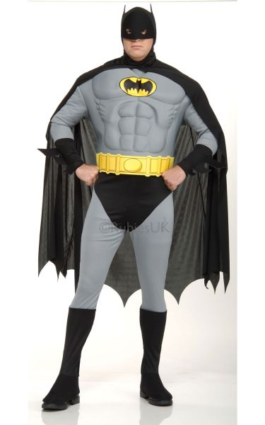 Dlx Muscle Chest The Batman Fancy Dress Costume   Plus Size