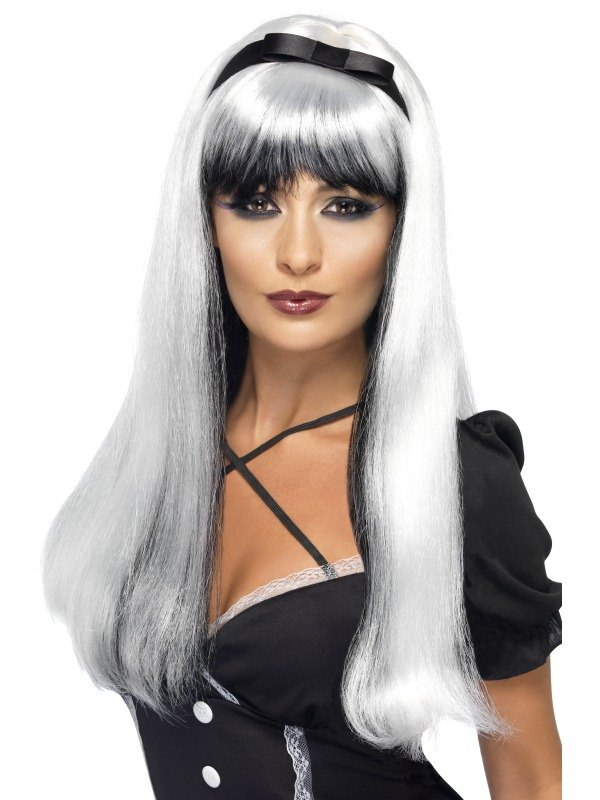 Bewitching Fancy Dress Wig Silver and Black
