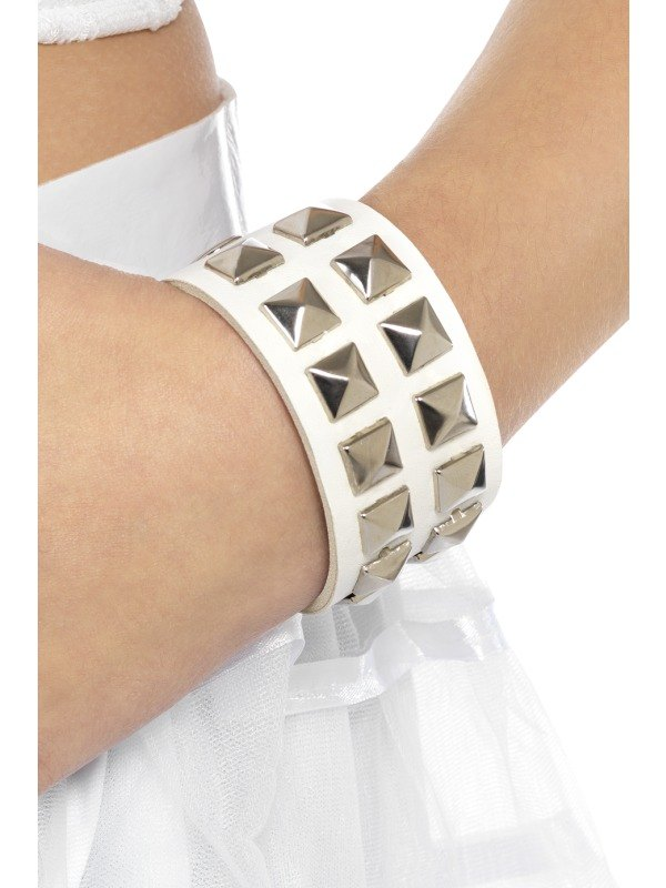 80s Studded Wristband White