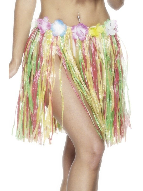 MultiColoured Hula Skirt with Flower 46CM