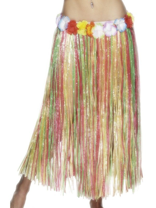 MultiColoured Hula Skirt with Flower 79CM
