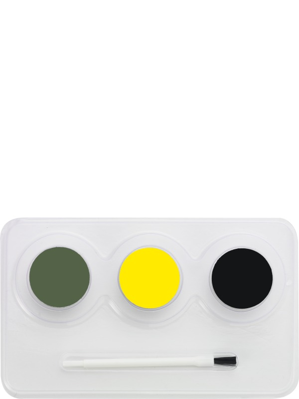 Alien Aqua Face and Body Paint Kit, Grey, Yellow and Black