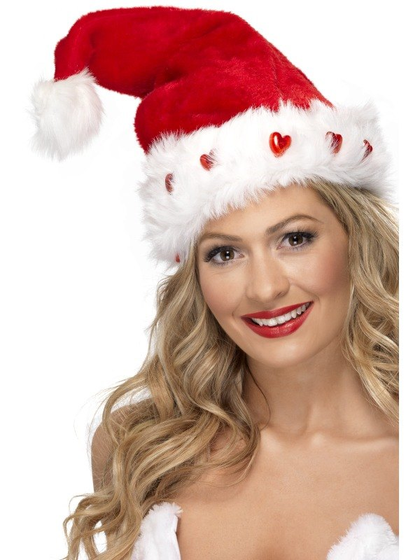Deluxe Santa Fancy Dress Hat Light up Hearts