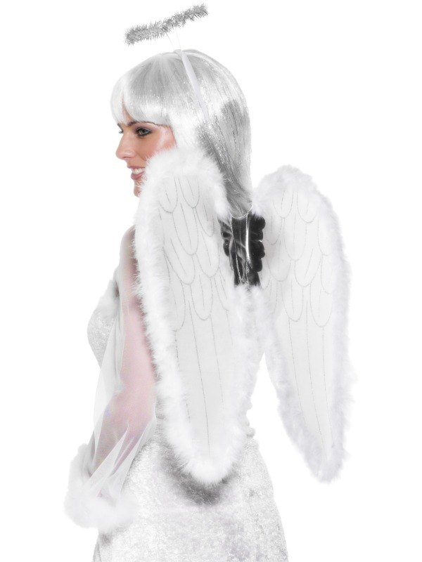 Angel Set Wings and Halo White