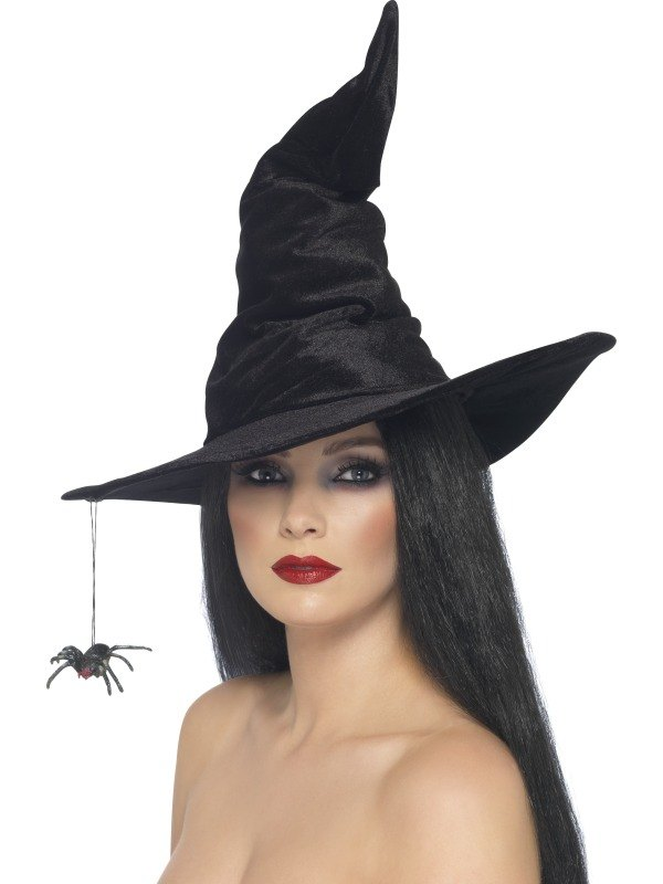 Witch Fancy Dress Hat Black with Spider