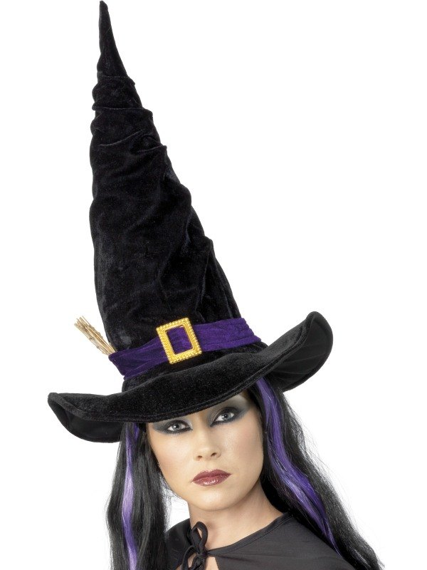 Witch Fancy Dress Hat Black with Buckle