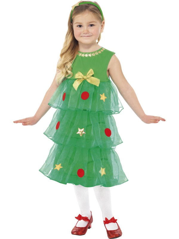 Girls Little Christmas Tree Tutu Fancy Dress Costume