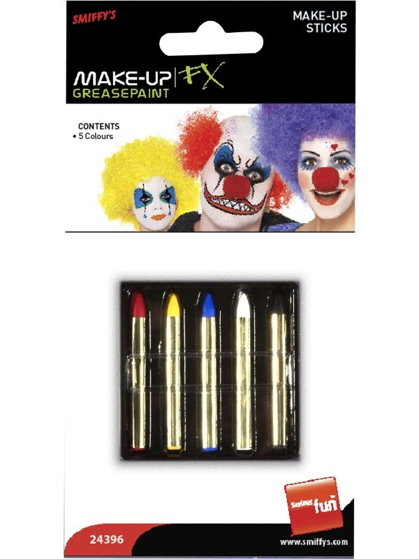 Make Up Sticks in 5 Colours, Red, Yellow, Blue, Black and White