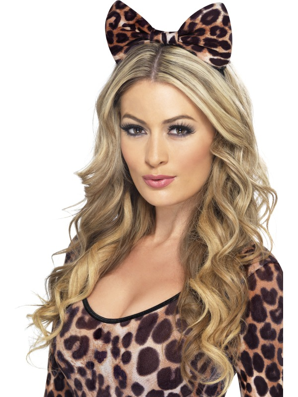 Leopard Bow on Headband Brown