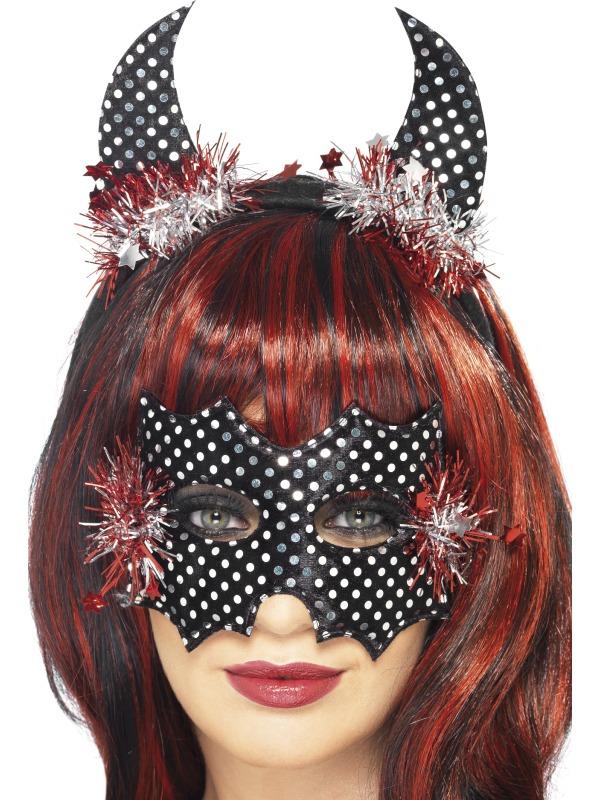 Devildina Mask and Horns Set Black