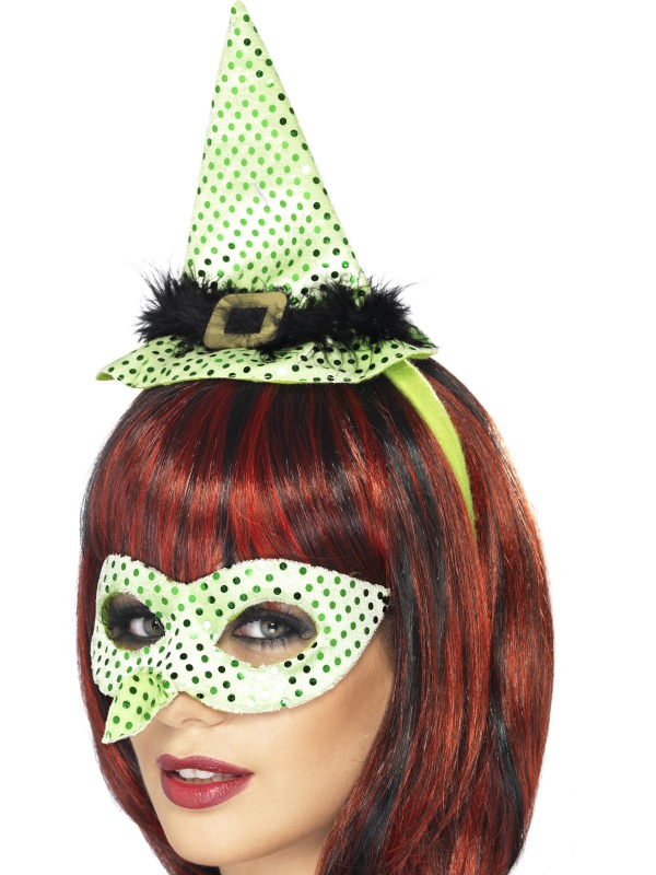 Wicked Venetian Eye Mask with Witches Nose and Mini Hat on a Headband Neon Green