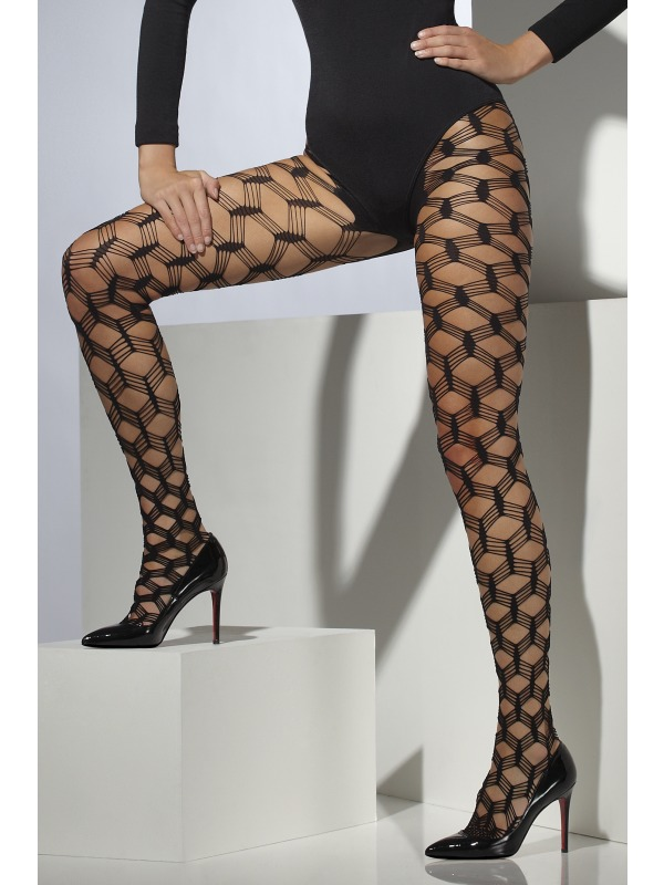 Womens Layered Diamond Net Black Tights