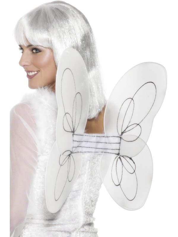 White Net and Silver Glitter Wings