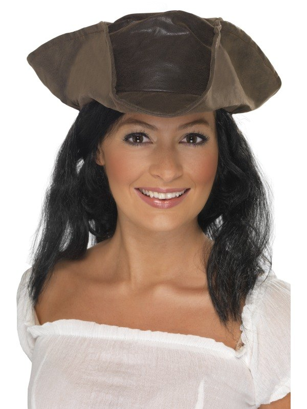 Pirate Fancy Dress Hat Brown Leather Look