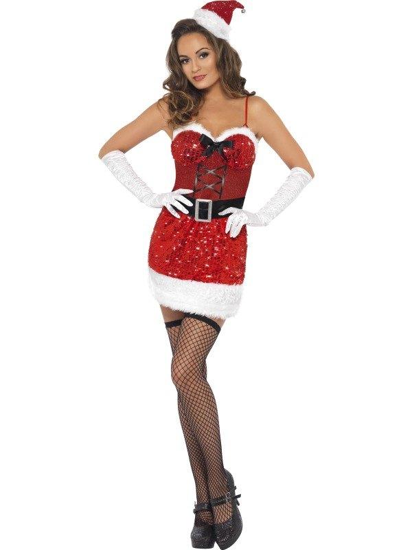 Sequin Santa Sizzle Fancy Dress Costume