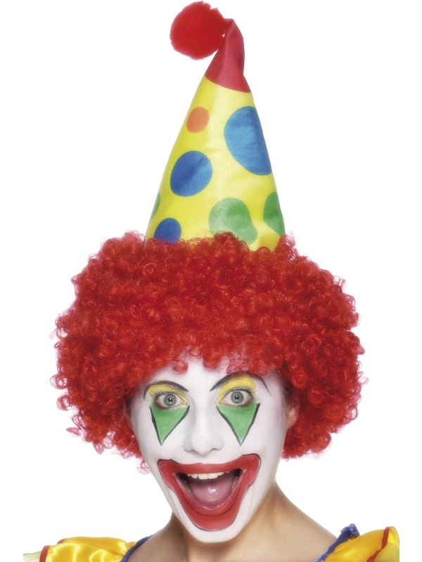 Clown Fancy Dress Hat and Fancy Dress Wig