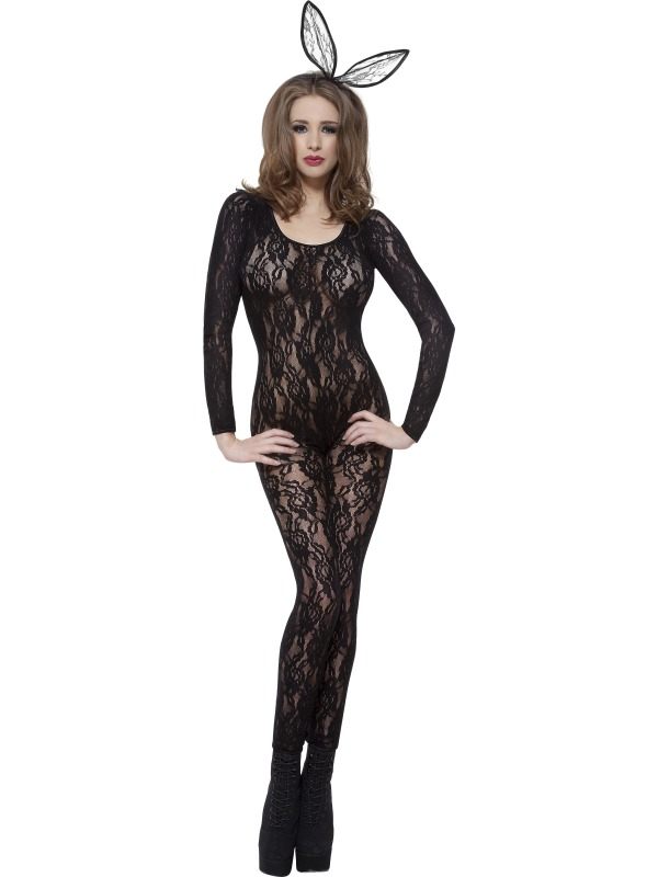 Body Stocking Black Lace Fancy Dress Costume
