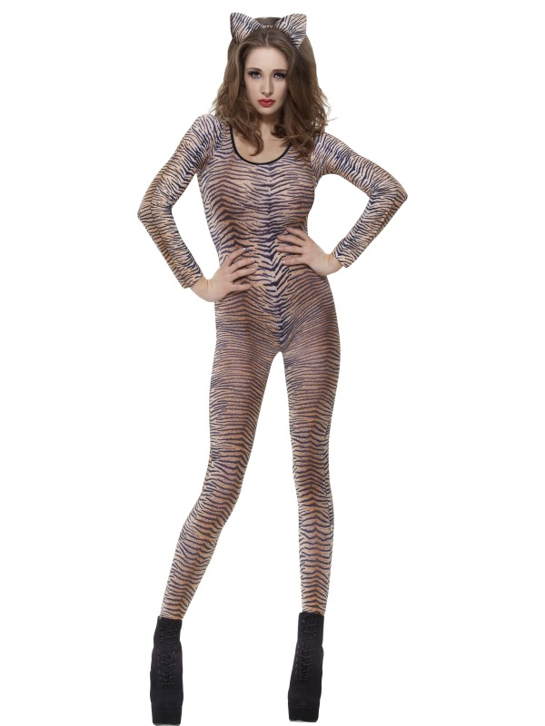 Tiger Print Bodysuit Fancy Dress Costume