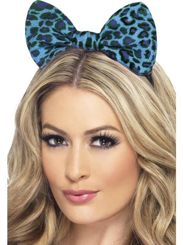 Leopard Bow on Headband Blue