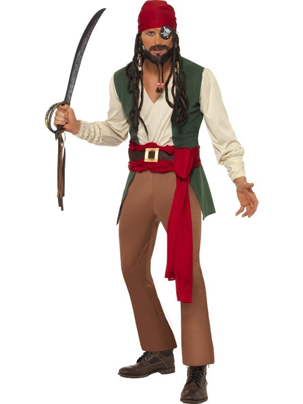Caribbean Drunken Pirate Fancy Dress Costume