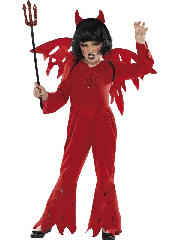 SALE! Kids Red Spooky Devil Girls Halloween Party Fancy Dress Costume Outfit