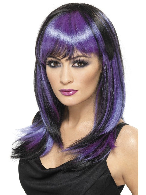 Black and Purple Glamour Witch Fancy Dress Wig