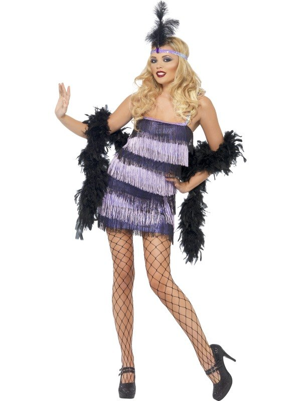Flapper Fancy Dress Costume Black and Purple