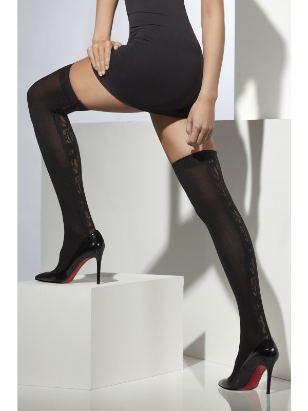 Womens Sheer Black Hold Ups With Lace Detail